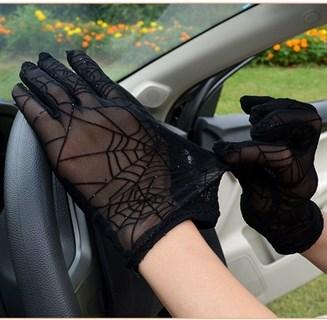 Перчатки паутинка с блестками короткие - фото 16818