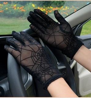 Перчатки паутинка с блестками короткие - фото 16819