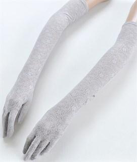 Длинные черные перчатки из плотного кружева - фото 16827