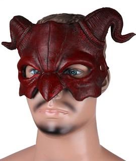 Полумаска дьявола 3D красная