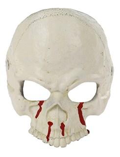 Мягкая полумаска черепа 3D белая с кровью