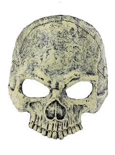 Мягкая полумаска черепа 3D желтая