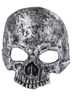 Мягкая полумаска черепа 3D серебристая