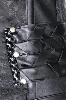 Корсет под грудь с плетеным кожаным декором - фото 17061