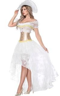 Ассиметричная юбка в пол с напылением. Белая
