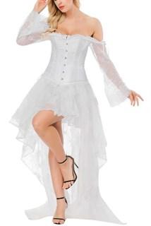 Ассиметричная юбка в пол с напылением. Белая - фото 17223