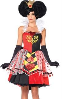 Маскарадный атласный костюм королевы зазеркалья с болеро