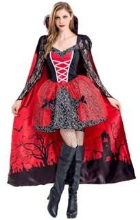 Платье вампирши с длинной юбкой и накидкой - фото 17292