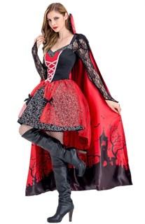 Платье вампирши с длинной юбкой и накидкой - фото 17293