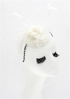 Шляпка таблетка розой из фетра. Молочная - фото 17346