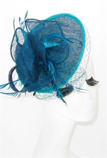 Шляпка с перьями на заколке Рейчел. Цвет морской волны