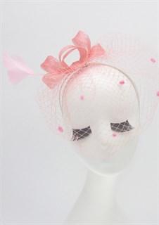 Бант из синамей с вуалью розового цвета
