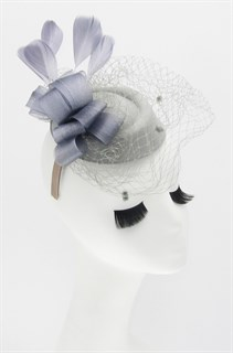 Шляпка с вуалью Жанна. Серая
