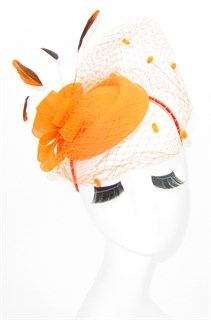 Шляпка с вуалью Жанна. Оранжевый - фото 17364