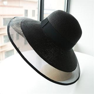 Летняя шляпа Шанель с прозрачными полями. Черная