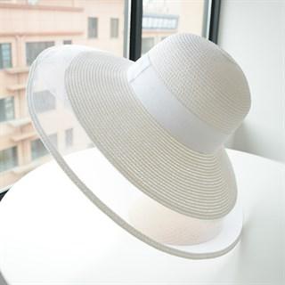Летняя шляпа Шанель с прозрачными полями. Белая
