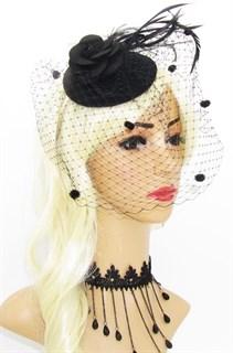Черная шляпка таблетка с вуалью