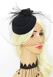 Шляпка Кэндис с вуалью. Черная