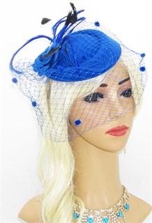 Маленькая шляпка Кэндис с вуалью и тонкими перьями. Синяя