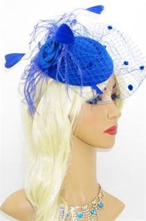Шляпка Кэндис с вуалью и пушистыми перьями. Синяя
