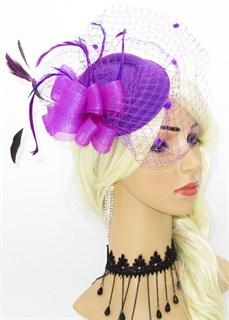 Шляпка с вуалью Жанна. Фиолетовый