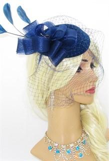 Шляпка с вуалью Жанна. Темно-синяя