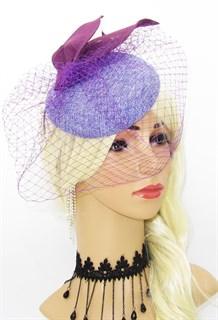 Скромная шляпка с вуалью. Фиолетовая