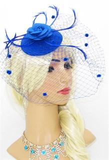 Синяя вуалетка с фетровой розой