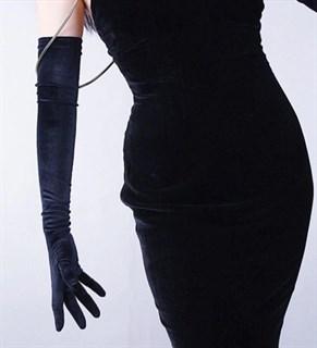 Длинные перчатки из велюра - фото 17544