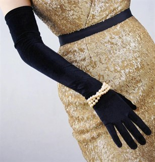 Длинные перчатки из велюра - фото 17546