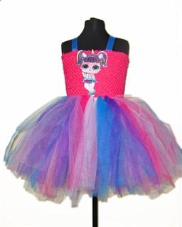 Пышное платье ярко-розовое с LOL единорогом