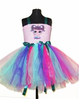 Пышное платье розовое с LOL единорогом