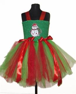 Новогоднее зеленое платье со снеговиком из пайеток