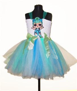 Пышное платье из фатина с бирюзовой юбкой LOL