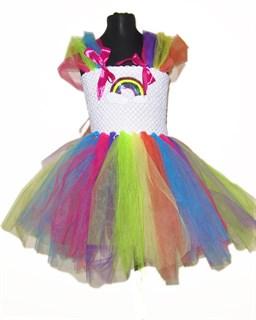 Праздничное платье из фатина Радуга