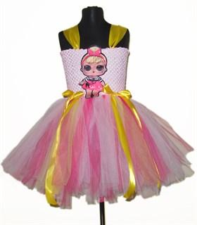 Пышное фатиновое платье светло-розовое с LOL