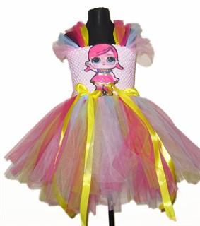 Пышное платье светло-розовое с рукавами LOL