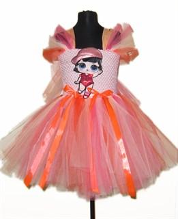 Пышное персиковое платье с LOL