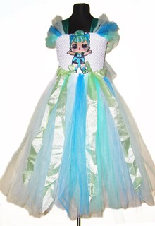 Пышное платье из фатина с длинной бирюзовой юбкой LOL