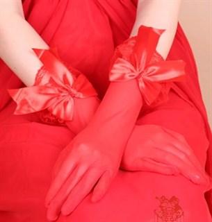 Красные прозрачные перчатки с бантиком и рюшам