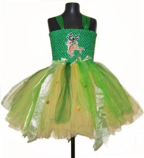 Пышное зеленое платье из фатина Бэмби