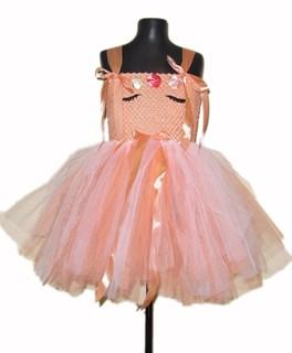 Нарядное персиковое платье из фатина Единорог