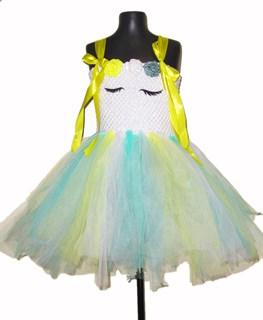 Нарядное белое платье из фатина с желтыми лентами Единорог