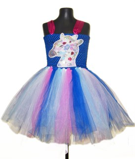 Нарядное синее платье из фатина Единорог