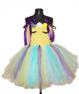 Нарядное желтое платье из фатина с фиолетовой лентой Единорог