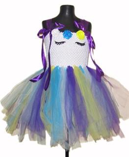 Нарядное белое платье из фатина Единорог с фиолетовой лентой
