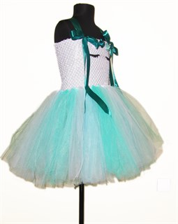 Пышное белое платье Единорог с бирюзовой юбкой и зелеными лентами - фото 17777