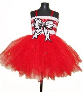 Новогоднее платье из фатина с большим бантом