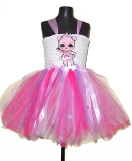 Праздничное розовое платье из фатина с LOL принцессой