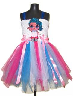 Праздничное розовое платье из фатина с LOL русалкой